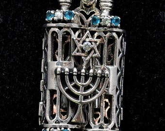Torah Book Pendant Sterling Silver 925 Neck Chain