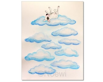 "Bull terrier illustration - On Cloud Nine - fine art print signed 8""x10"" or 11""x14"" from original painting by Noewi - dog puppy - funny"