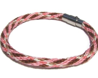 Pink and brown plaid kumihimo bracelet with magnetic clasp