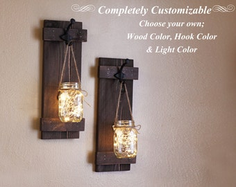 Mason Jar Wall Sconces, Home Decor, Lighted Sconces, Wall Hangings, Rustic Gifts, Customizable, Set of 2 Wall Sconces, Mason Jar Decor