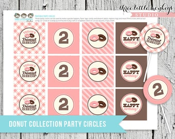 Donuts Shop Party Circles - Cupcake Toppers, Gift Tags, Favor Tags and More