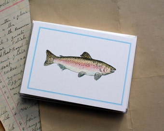 Fishing Salmon Trout Fisherman Thank You Notecards Stationery Masculine Thank You Notes, Handmade Thank You Notecards, Set of 8