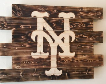 New York Mets baseball wood sign charred burnt