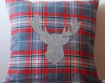 Tartan pattern and silver deer head pillow cover