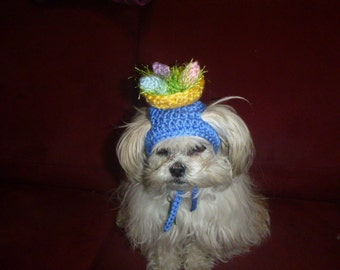 EASTER BASKET w EGGS Dog hat - Humorous - 2 to 20 lb pets - choose colors - need measurement