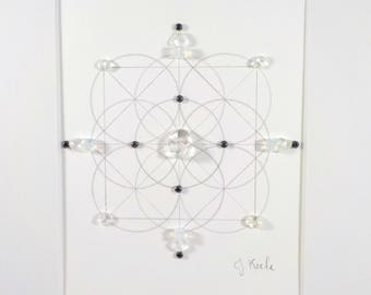 Crystal Grid - TRANSITION - Sacred Geometry Healing Grid- Opalite, Hematite, Clear Quartz Crystal