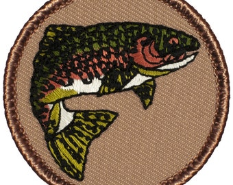 Rainbow Trout Patch (298) 2 Inch Diameter Embroidered Patch