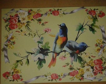 Place mats in paper with blue birds