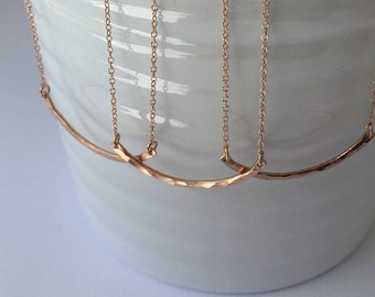 Set of 3 or 4 Rosegold Curved Bar necklaces-Friendship necklace for 3 or 4-Mother Daughter Sister Necklace-Linked Open Circle Eternity