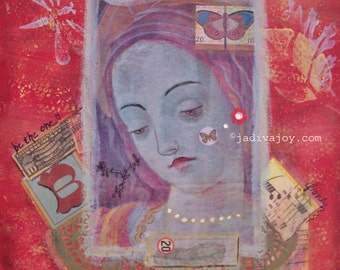 Waiting in Red-Matted Mixed Media Print (8x8 matted to 11x14)