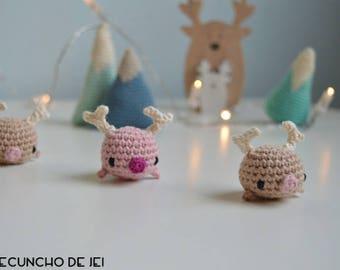 Mini Amigurumi, Christmas ornament Amigurumi, Rudolf Whale, Rudy Whale, Rudy Whale Amigurumi, Tiny Amigurumi, Christmas ornament, keyring
