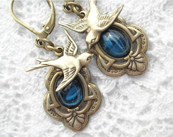 Sparrows Retreat Brass Earrings - Montana Blue Glass- Morning Glory Designs