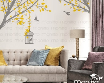 Leafy Side Branches with Cage Nature - Living Room Decal ,Modern Home Wall Sticker, Bedroom Wall Decal, Study Room Decal [MT017]