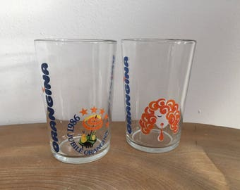 Pair 2 Vintage Orangina Advertising Glasses, Tumblers - 1986 Jubilee, Made in France