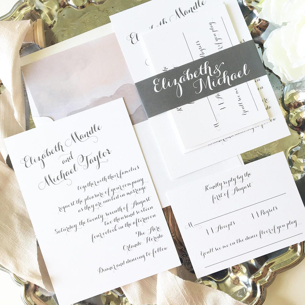 Gray Wedding Invitation Modern Wedding Invite Calligraphy