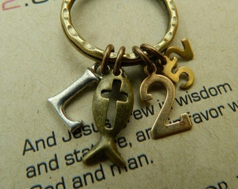 SCRIPTURE KEYCHAIN, Christian Keyring, LUKE 2:52-And Jesus grew in wisdom and stature, and in favor with God and man.