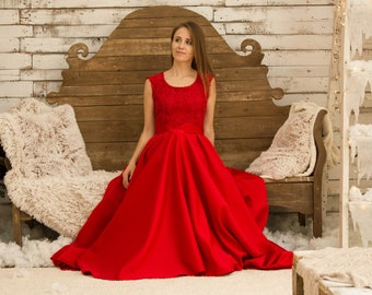 Prom dress 2018 Red dress Lace dress Dress with bow