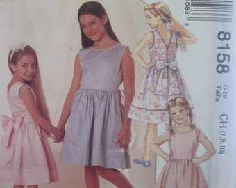 PATTERN MC CALLS 8158 dress for girls size 7 to 10 years