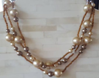 "Necklace / 56"" / Gold Tone, Purple and Pink Beads and Faux Pearls / Vintage"