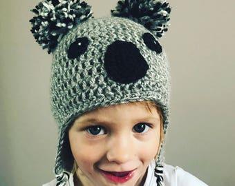 Koala hat crochet beanie with pom pom