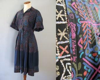 50s batik shirt dress - vintage blue cotton short sleeve novelty print full circle skirt color block fit and flare handmade Bate's Fabrics