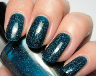 Confusion - 5 ml mini - teal jelly polish with holographic microglitter - indie polish by ALIQUID Lacquer
