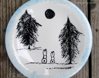 Woodland Winter bunnies pottery dinner plate made to order tableware rustic custom plate custom pottery food safe bunny rabbit rabbits