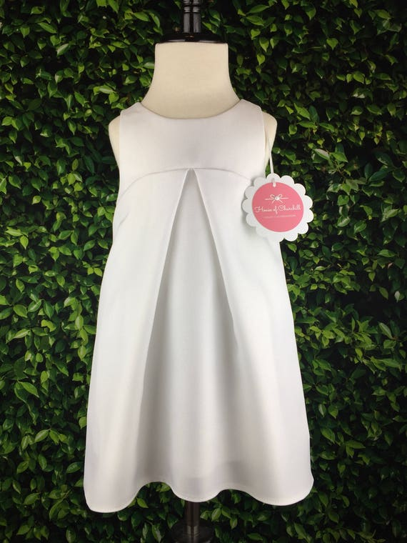 "The ""Jet Plane Dress"" with Removable Contrail in White Gabardine"