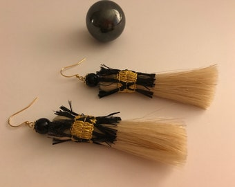 Tassel Earrings , Horse Hair, Gold Ribbon with Raffia, Onyx and Faux Gold Findings.