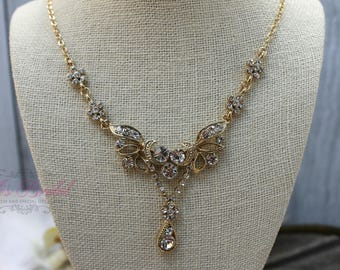 FAST SHIPPING!! Beautiful Gold Swarovski Crystals Jewelry Set, Bridal Set, Bridal Jewelry Set, Sweet 16 Jewelry Set, Bridesmaid Jewelry Set