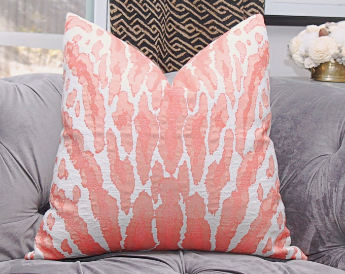 Sale 25.00  Coral Animal Print Pink Woven Large Scale Pillow Cover - Coral Animal Throw Pillow - Motif Pillows