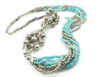 Vintage, Blue Bead, Torsade Necklace, Silver Tone Beads, Long, Hook Clasp