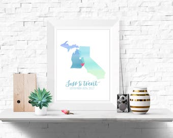 Personalized states, wedding gift, anniversary gift, watercolor states, handlettered, calligraphy, wall decor