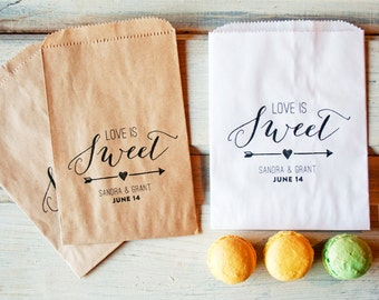 Wedding Favor Bags  - Love is Sweet Design with Arrow - Personalized, Wax Lined Favor Bag - Great for cookies - 20 White Favor Bags included