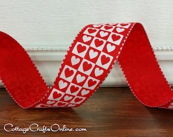 "Valentine Wired Ribbon, 1 1/2"" wide, Red Heart Block Print on Satin - THREE YARDS - Offray ""Heart Block"" Wire Edged Valentine Ribbon"