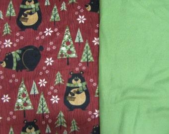 Fleece Tie Blanket-Wintertime Bear and Solid Green, medium