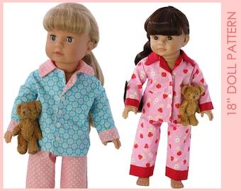 18 inch doll clothes patterns, Doll Pajama Pattern, Doll Patterns, 18 doll clothes patterns, 18 inch doll pattern, DOLL PAJAMAS