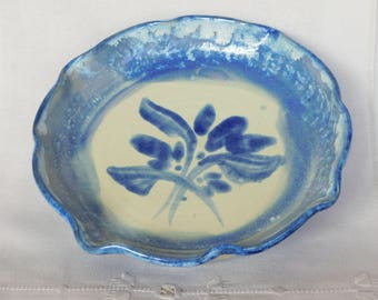 Hand Thrown Pottery Serving Plate, Decorative Platter, Fluted Tray, Blue, Cream, Folk Art Brushwork Motif, Serving Dish