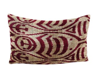 Silk Velvet Ikat Pillow Cover Lp456, Bohemian pillow, Velvet Ikat Pillow, Velvet Pillow, Velvet Pillow Cover, Ikat Pillows, Throw Pillows