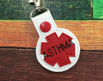 Medical alert bag tag - asthma alert clip on keyring - medical alert bag charm with asthma indication to increase awareness