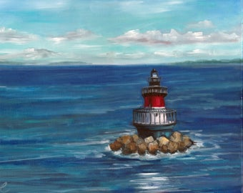 Jamestown Lighthouse, painting, beach art, oil painting, ready to hang, original art, americana, lighthouse
