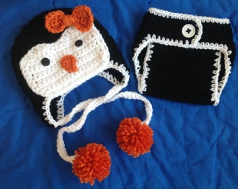 Crochet Penguin Baby Hat and Matching  Diaper Cover Set Girls Newborn Penguin Outfit Baby Penguin Outfit Photo Props