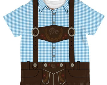 Oktoberfest Lederhosen Costume German Brown Suspenders All Over Toddler T Shirt