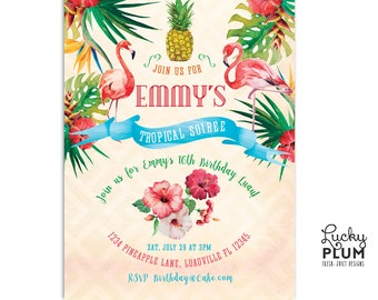 Tropical Birthday Invitation / Flamingo Birthday Invitation / Luau Birthday Invitation / Pineapple Invitation / Tropical Bridal Invitation