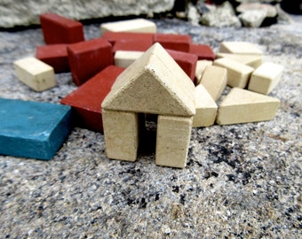 Vintage Collection of 27 Lott's Stone Building Blocks