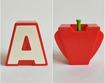 Vintage Bandai 1985 Transforming Letter Alphabet Block, A is for Apple