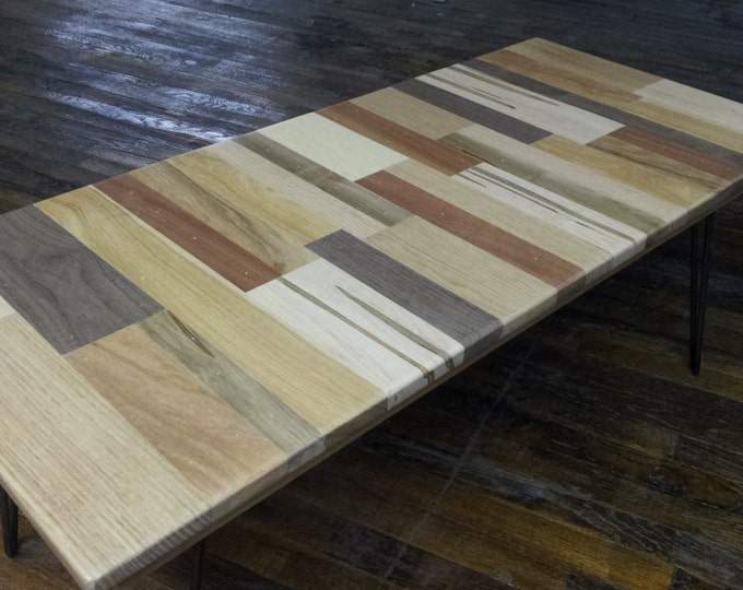 Wood Coffee Table Unframed Wood Coffee Table Reclaimed Wood Hairpin Legs