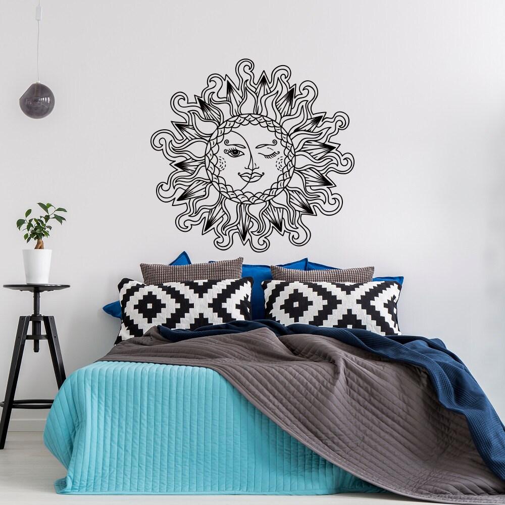 Sun And Moon Vinyl Wall Decal Bedroom Sun Moon Stars Wall