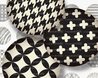 Black and White Patterns . Digital Sheet 203 . 12 mm circles
