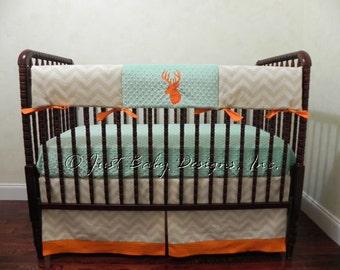 Deer Crib Bedding Set Payne -  Boy Baby Bedding, Teething Rail Cover, Deer Baby Bedding, Khaki Baby Bedding